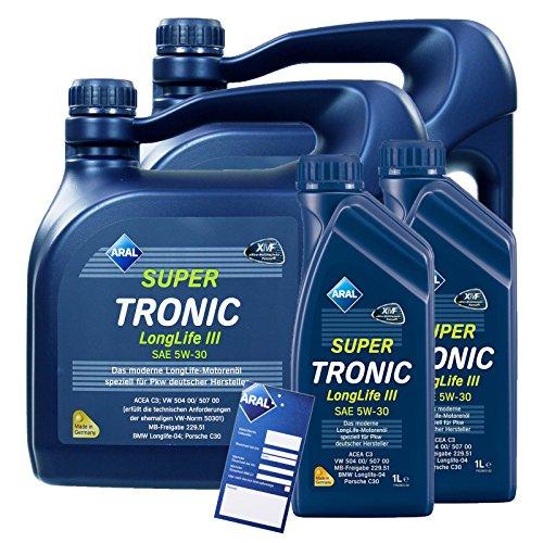 2x 1L + 2x 4L = 10 Liter ARAL SuperTronic Longlife III 3 5W-30 Motoröl inkl. Ölwechselanhänger