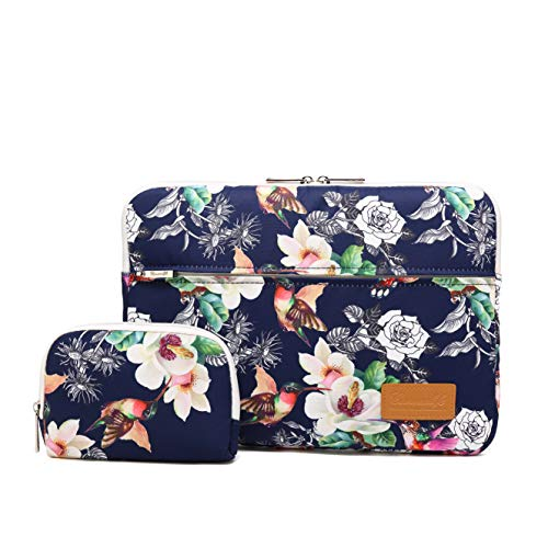 Canvaslife Chinese Rose Pattern 360 Degree Protective 13 inch Canvas Laptop Sleeve with Pocket 13 Inch 13.3 Inch Laptop Case