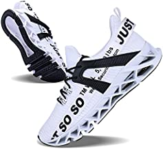 Men White Shoes Casual Monochrome Running Sports Slip Shock Absorption Breathable Walking Shoes (White, 10)