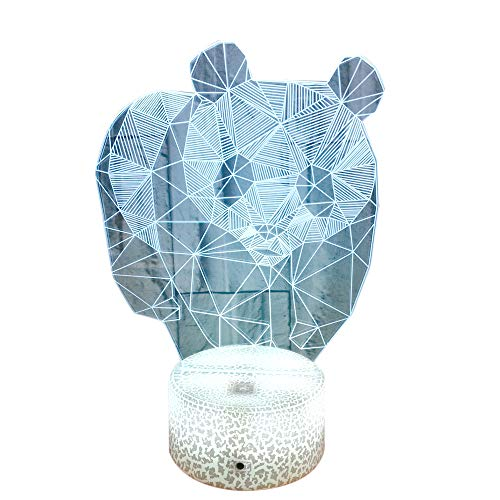 HLEARIT Panda 3D Night Light for Kids - Plug-in Optical Illusion Bedside Lamp LED Baby Room Decor Light Crack Lighting Base Remote Control Birthday Baby Shower Xmas Gift