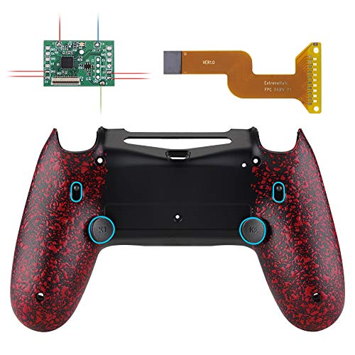 eXtremeRate Textured Red Dawn 2.0 FlashShot Trigger Stop Remap Kit for PS4 CUH-ZCT2 Controller, Upgrade Board & Redesigned Back Shell & Back Buttons & Trigger Lock for PS4 Controller JDM 040/050/055