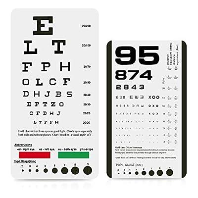 Eye Chart, Pocket Eye Chart, Snellen Pocket Eye Chart, Rosenbaum Pocket Eye Chart (2 Pack)