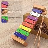 AGREATLIFE AGL Holz-Xylophon für Kinder - Musikinstrument MIT Notenbuch - Glockenspiel diatonisch...