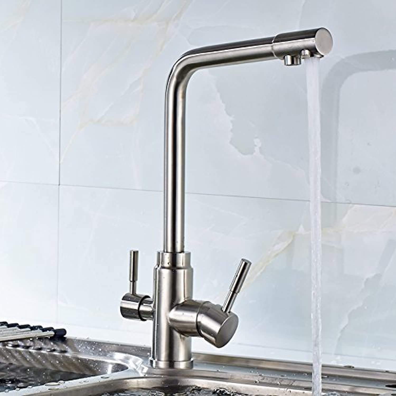 3-Wege Küche Wasserhahn mit gefiltertem Wasser Nickel gebürstet Mixer Dual Griffe kalte und heie Wasserhhne Tippen