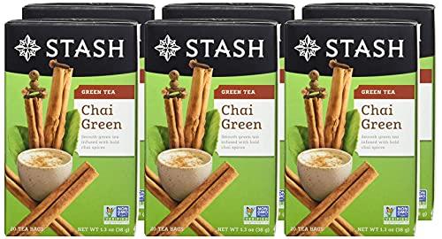 Stash Tea Chai Green Tea, 6 Boxes of 20 Tea...