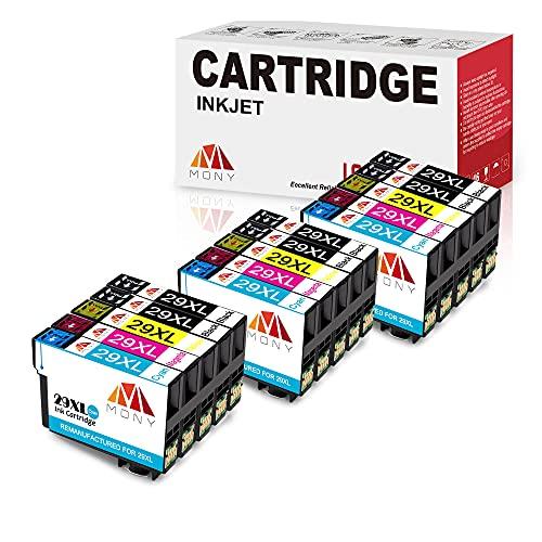 Mony - Cartuchos de tinta compatibles con Epson 29 XL para impresoras Epson Expression Home XP-235 XP-245 XP-335 XP-435 XP-345 XP-445 XP-432 XP-332 XP-442 (6 negro, 3 cian, 3 magenta, 3 amarillo)