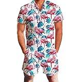 Dihope - Mono corto para hombre con estampado 3D de manga corta y falda casual, de una sola pieza, para verano Flamingo S