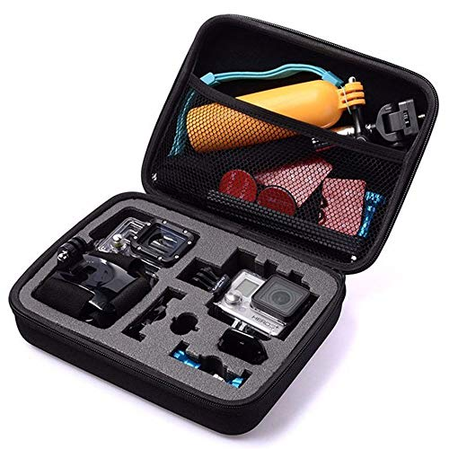 TEKCAM Action Camera Carrying Case Protective Bag Compatible with Gopro Hero 8 7/AKASO ek7000 Brave 4 6/APEMAN/Campark/Crosstour 4k/Dragon Touch Waterproof Camera Travel Storage (Medium)