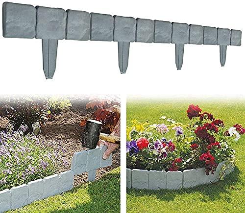 LIANGX DIY Graue Steinoptik Gartenpalisade Beeteinfassung,Kunststoff Flexible Rasenkante Plug-in Zaun Plant Grenze,für Rasens oder der Terrasse Pflanzendekoration (40 Stück(10m),Grau)
