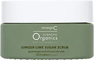 emerginC Scientific Organics Ginger-Lime Sugar Scrub - Body Exfoliator with Moisturizing Shea Butter, Ginger Root Oil + Co...
