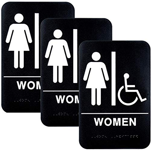 """Plastic Restroom Sign: Easy to Mount with Braille (ADA Compliant), Great for Business - 6""""x9"""", Women's Handicap - Pack of 3"""