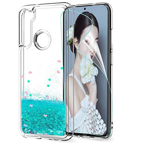 LeYi für Xiaomi Redmi Note 8T Hülle Glitzer Handyhülle mit HD Folie Schutzfolie,Cover TPU Bumper Silikon Clear Schutzhülle für Case Xiaomi Redmi Note 8T Handy Hüllen ZX Türkis