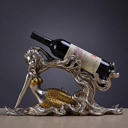 KFDQ Estante de Copa de Vino de la Novedad, Estante de Vino, Estante de Vino Salón Creativo Europeo de Sirena Muebles de Gabinete de Vino Artesanías Decorativas Movimiento de Boda Regalos de Inaugura