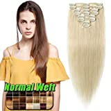 Extensions Echthaar Clip in günstig Haarverlängerung 8 Tressen 18 Clips Remy Human Hair 40cm-65g(#60 Weißblond)