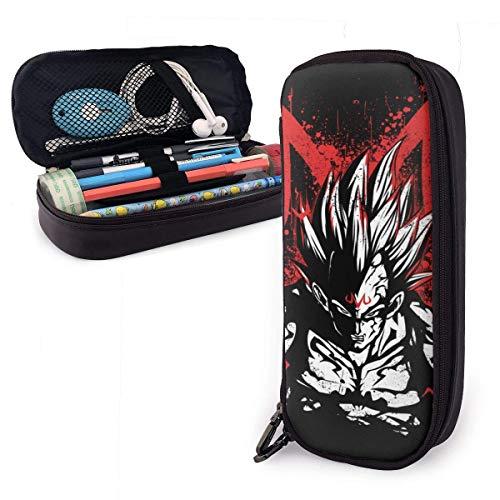 Lápices Estuche para bolígrafos Anime Drago-n Bal-l Majin Vegeta Estuche para lápices de cuero Gran capacidad con cremallera Bolígrafo de alta capacidad Estuche para lápices Organizador de escritorio