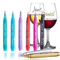 InnoBeta Magink Confezione da 8 Pennarelli Metallici per Bicchieri da Vino, Cancellabili, Atossici, Asciugatura Rapida, Alternativa ai Ciondoli da Vino, Ottimo per Cene, Party, Matrimoni, DIY