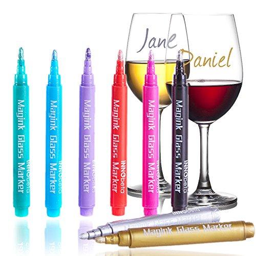 InnoBeta Magink de Paquete de 8 Rotuladores Marcadors Metálicos para Copas de vino, Borrables, no Tóxicos, secado rápido, Alternativa para los Identificadores de Copas de Vino