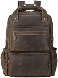 Mens Leather Bag Durable Brown Crazy Horse Real Leather Backpack Men's Backpack Travel Casual Large Capacity Bag Bag (Color : Brown, Size : 15 inches)