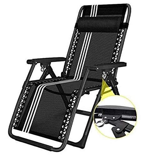 Chaise Longue Pliante Portable Sun Gravity Terrace Outdoor Garden Beach Black Adult Backrest Chair