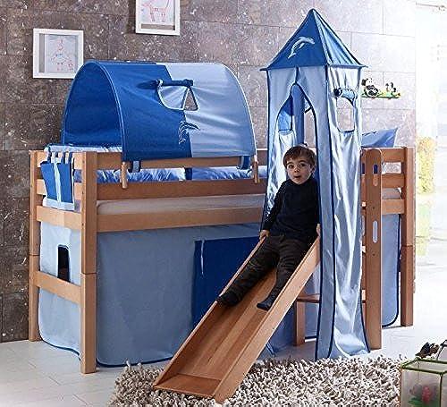 Froschk g24 Hochbett ELIYAS Kinderbett mit Rutsche Spielbett Bett Natur Stoffset Blau Delfin, Matratze ohne