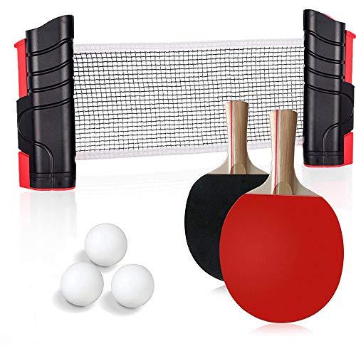 Set da Racchette Ping Pong Professionale, 1 Rete Regolabile e Portatile Tavolo Ping Pong, 2 Racchette Ping Pong in Gomma a Doppia Faccia, 3 Palline Ping Pong e 1 portatile da Borsa