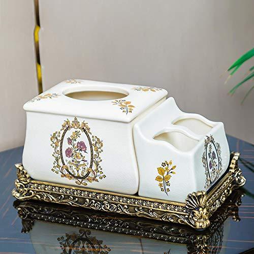 Sebasty Ornamente Multi-Funktions-Fernbedienung Keramik Tissue Box Pump Tray Storage Box European Creative Wohnzimmer Couchtisch Ornamente (Color : White)