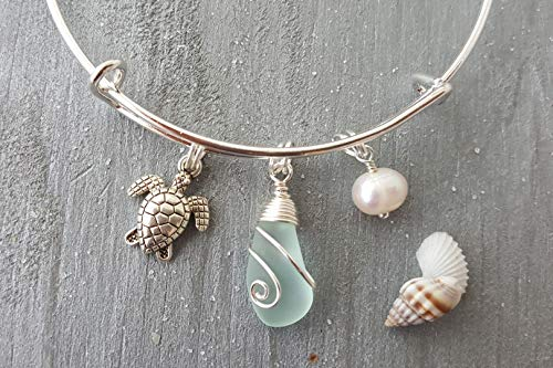 Handmade in Hawaii,wire wrapped seafoam sea glass bracelet, (Hawaii Gift Wrapped, Customizable Gift Message)