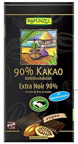 Rapunzel Bio Bitterschokolade 90% Kakao mit Kokosblütenzucker HIH (6 x 80 gr)