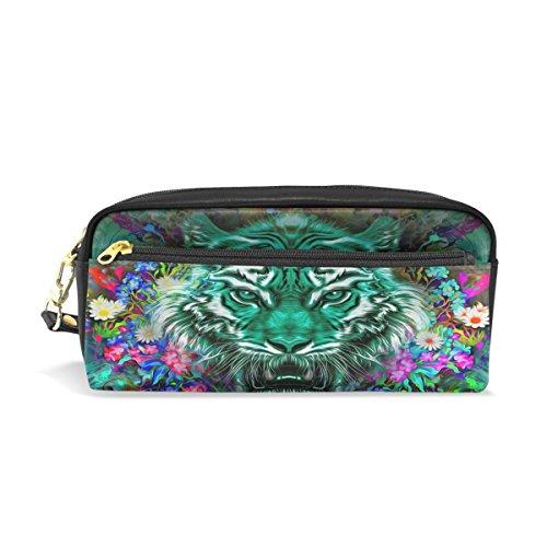 Trousse à crayons, tigre Floral Art imprimé Voyage Maquillage Pouch Grande capacité étanche Cuir 2 compartiments pour filles garçons femmes Hommes