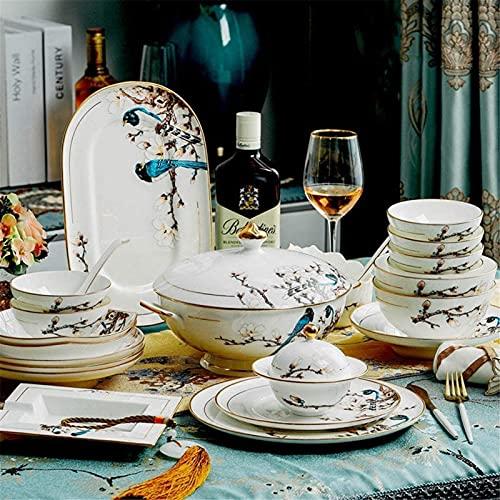 ZRB Juego de vajilla clásica, juegos de cena de cerámica vajilla de cerámica conjunto con 50 piezas, tazón/maceta/plato/cuchara/juegos de cena de porcelana de hueso