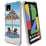 guchaolu Ajuste para Google Pixel 4 Xl modelo funda de teléfono con mar, tumbonas de madera frente al océano oriental bajo un paraguas de paja en