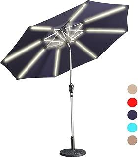 Aok Garden LED Outdoor Umbrella,9 Feet Solar Powered LED Light Bars Patio Umbrella with Push Button Tilt and Crank Outdoor Market Umbrella Garden Poolside Sunshade(Solar LED,Navy Blue)