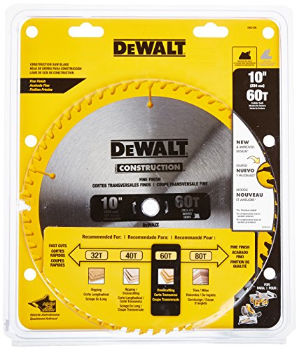 DEWALT 10-Inch Miter / Table Saw Blade, ATB, Thin Kerf, Crosscutting, 5/8-Inch Arbor, 60-Tooth (DW3106)