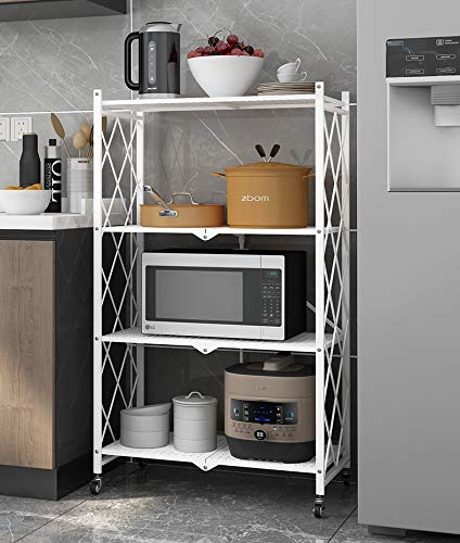 4-Shelf General Purpose Collapsible/Foldable Shelving Unit, Sturdy Storage Rack with Caster Wheels. 4 -Tier Organizer, Rolling Cart, Laundry Closet Storage, Heavy Duty Metal Frame, No Assemble Needed