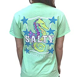 Southern Attitude Salty Seahorse Mint Short Sleeve Shirt