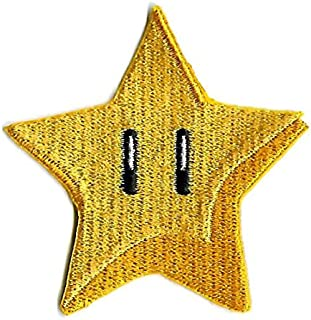 Gold Star Patch Power Up Embroidered Iron on Badge Applique Costume Cosplay Mario Kart / Snes / Mario World / Super Mario Brothers / Mario Allstars