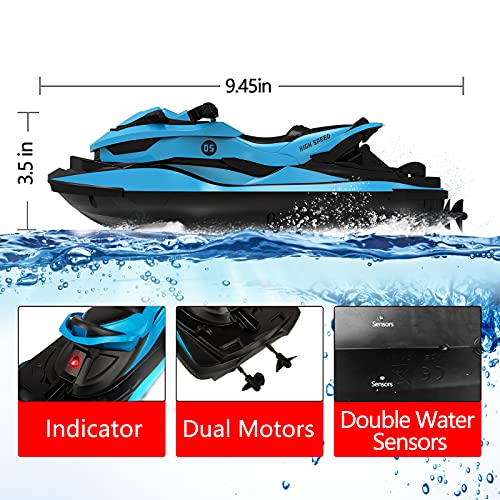 IOKUKI RC Boats for Kids & Adults, Remote Control Boat for Pools & Lakes with 2 Rechargeable Toy Boat Batteries & 2 Charger Cables & Low Power Prompt Motor Boat (Blue)