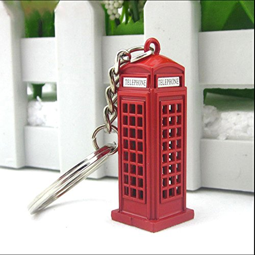 Cikuso Vintage Cabina telefonica britanica Miniatura Londres Coche Llavero llaveros Diecast Llavero Regalo para Mujeres Ninas