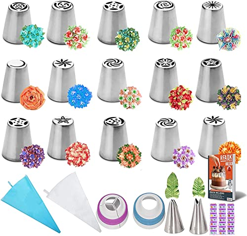50Pcs Russian Piping Tips Set-15 Numbered Flower Frosting Tips Cake...