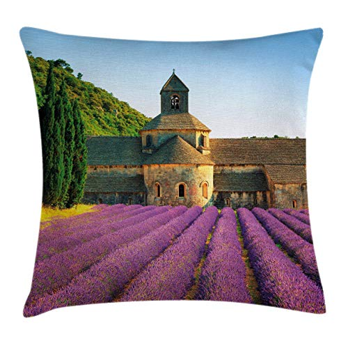 IUBBKI Funda de cojín con diseño de Lavanda, Abadía de Senanque en Francia Arquitectura Campo Floreciente Filas escénicas, D