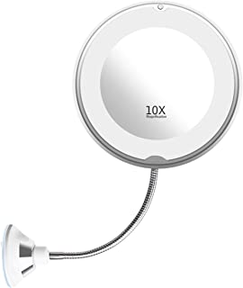 Flexible Gooseneck LED Light Makeup Mirror, Imikoko 10X Magnifying Makeup Mirror with Power Locking Suction Cup, Bright Diffused Light and 360 Degree Swivel.