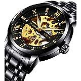 Men's Watch Mechanical Stainless Steel Skeleton Luminous Waterproof Black Automatic Self-Winding Rome Number Diamond Dial Leisure Business Wrist Watch