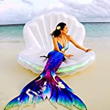 Aprildecember666 New Swimming Pool Giant Shell Inflatable Float , Mermaid Sea Shell Pool Raft Mattress, Pearl Scallops Floating, 67 x 47 x 47 inches - White ( Iridescent Edges)