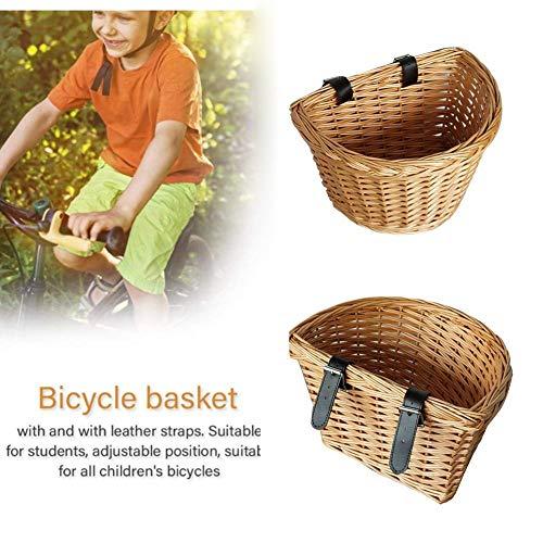 Eillybird Fietsmand voor op de bagagedrager, fietsmand voor buiten, milieuvriendelijk, handgeweven fietsmand voor kinderen
