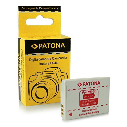 PATONA batteria Li-Ion NB-5L 900mAh per Canon Digital IXUS 90 800 870 950 990 IS PowerShot S100 S110 SD770 SD800 SD850 SD880 SD890 IS