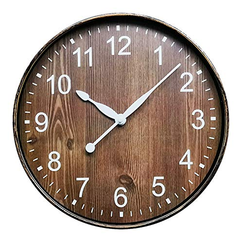 ufengke Reloj de Pared Grano de Madera Marrón Reloj Quartz Vintage Antiguo Pare Comedor Cocina Salon, Diámetro 30cm