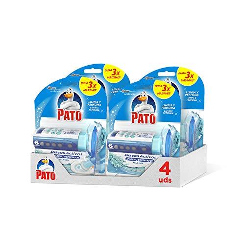 Pato - Discos Activos WC Marine, aplicador y recambio con 6 discos [Pack de 4][Todos los aromas]