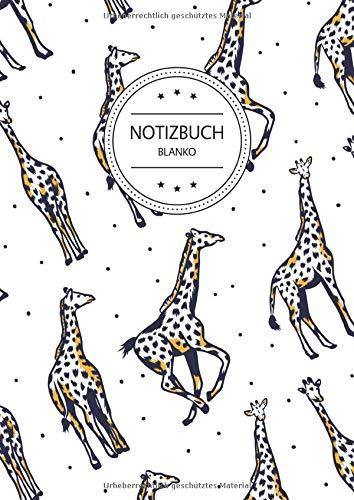 Notizbuch Blanko: Notizbuch A4 Blanko (110 Seiten, Vintage Softcover, Seitenzahlen, Weißes Papier - Dickes Notizheft, Skizzenbuch, Zeichenbuch, Blankobuch, Sketchbook - Motiv: Giraffen Muster Giraffe