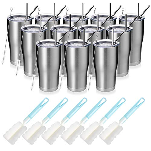 MANYHY 20oz Stainless Steel Insulated Tumbler, 12 Pack Bulk Travel Mug with Lid, Straw and Brush,...