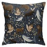 Funda de almohada, diseño de vida silvestre canadiense azul oscuro, funda de cojín moderna, decoración cuadrada para sofá, cama, silla, coche, 45,7 x 45,7 cm